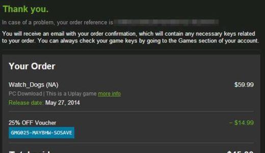 [VPNでおま国回避]GMGでWatch_Dogsを45ドルで購入。北米Uplayアカウントも取得しました