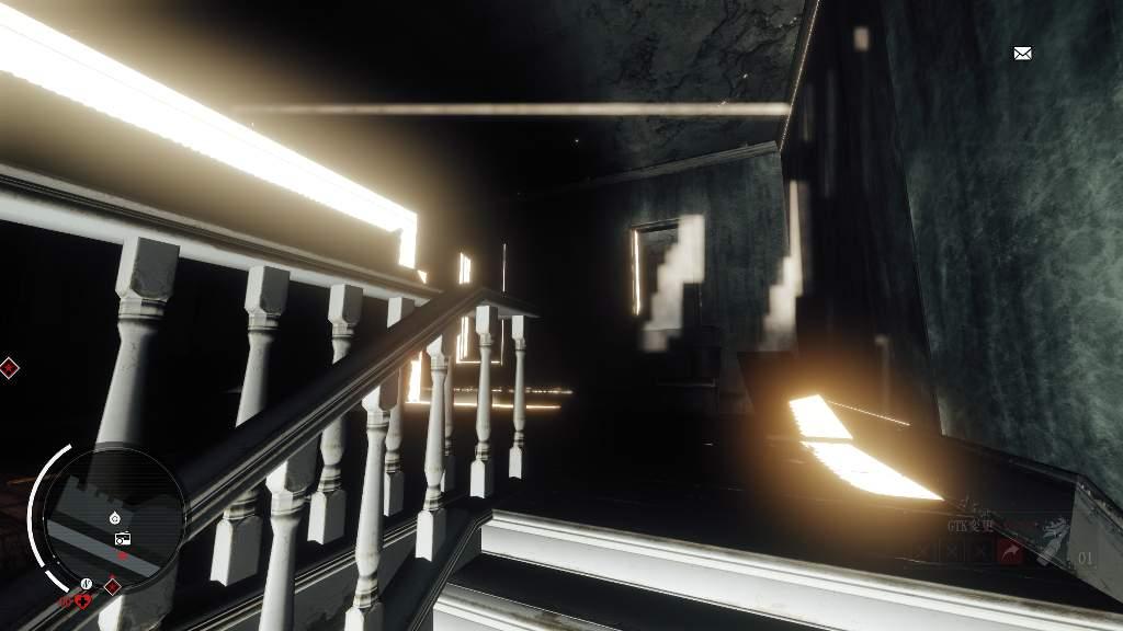 グラフィック設定をかなり低くした状態。屋内における光の描写がグチャグチャだ