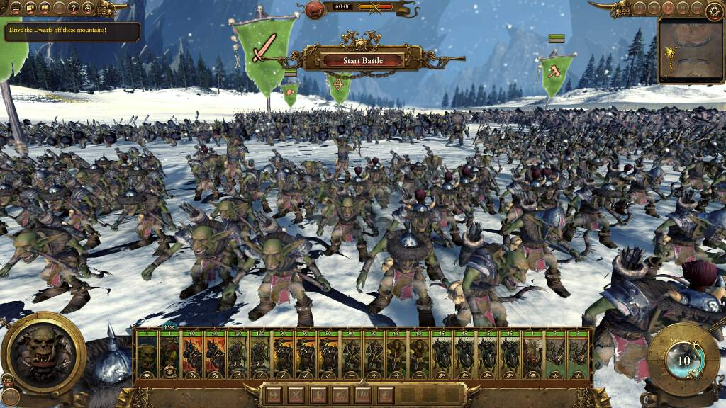 戦争開始前の風景。大量のオークの群れには圧倒される