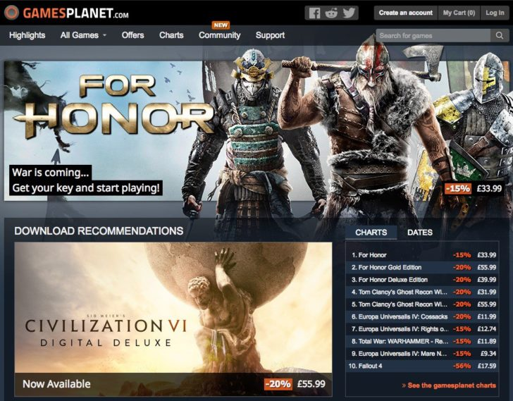 Gamesplanetのトップページ