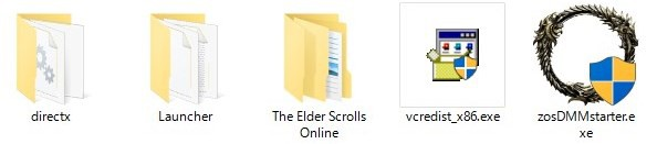esoフォルダの中身。The Elder Scrolls Onlineフォルダがゲーム本体で、ここにファイルがダウンロードされる。