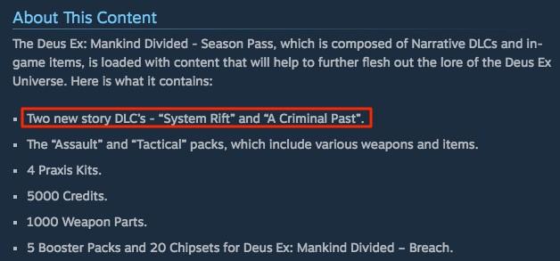 『Deus Ex: Mankind Divided』のシーズンパスにはストーリーDLCが付いてくる。「システムリフト(System Rift)」と「クリミナルパスト(A Criminal Past)」の二つだ。