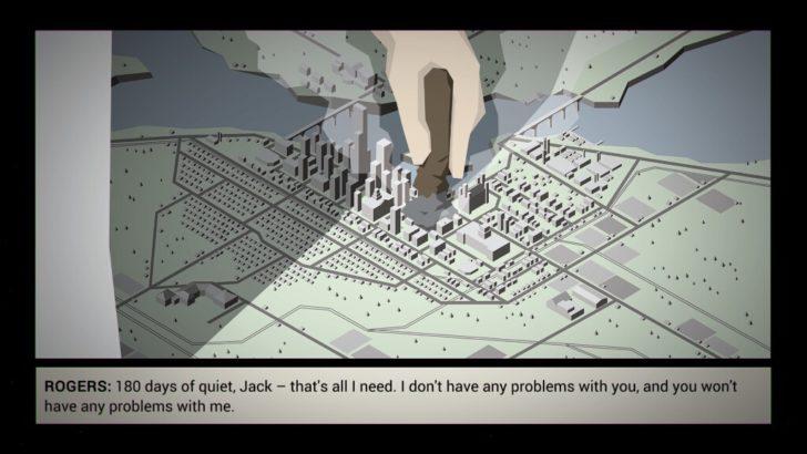 舞台となる街「フリーバーグ(Freeburg)」のミニチュア模型。市長がタバコを押し付けて火を消している。