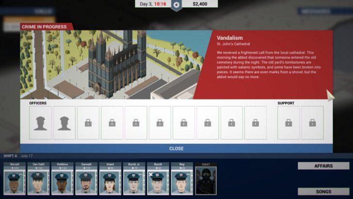 聖堂で事件が発生した。画面下に配置されている警官たちの中から人員を選び、出動させる。特に問題なく犯人を捕まえられれば、出動した警官のプロフェッショナリズム(星の横にある数字)が5~10程度上昇する。プロフェッショナリズムの高い警官は簡単な事件なら一人で解決できる。プロフェッショナリズムは150あれば平均的だ。中にはプロフェッショナリズムが5しかない警官もいるが、適材適所に使っていこう。