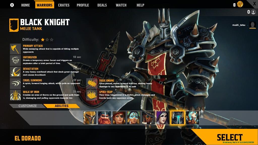 引用:Amazon Game Studios『Breakaway』 近接攻撃が得意なタンク「ブラックナイト」(Black Knight)
