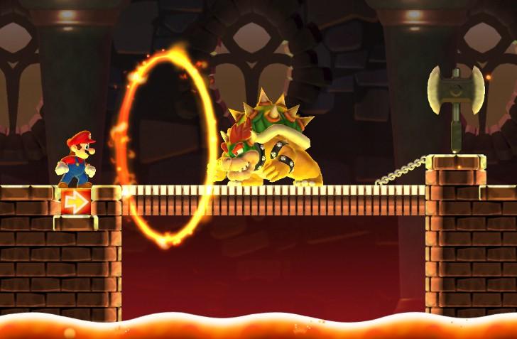 引用:任天堂『スーパーマリオ ラン』 火の輪とクッパ。ここは少し手こずった。