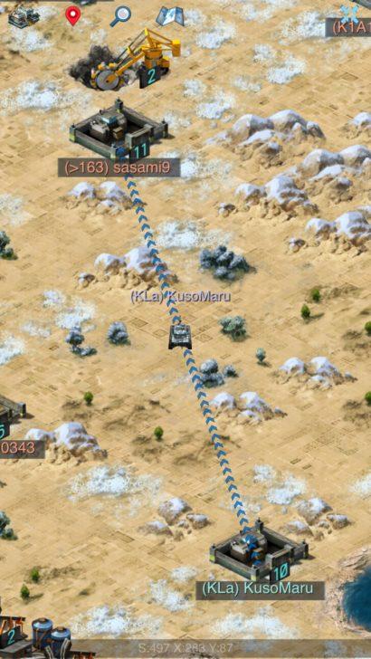 他プレイヤーの基地へ軍隊を送り込む