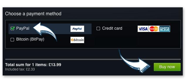 PayPalを選択して「Buy now」をクリック