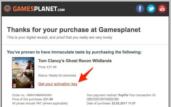 「Get your activation key」をクリックして、ゲームキーを取得できるページを開く