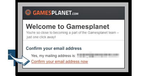 メールアドレスを確認するために『Gamesplanet』から送られてくるメール