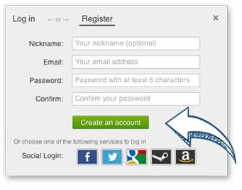 Register(登録)を押してメールアドレスとパスワードを入力する