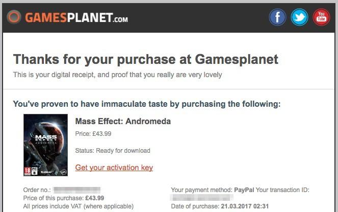 Gamesplanetで購入し、注文が完了するとこんな感じのメールが届く