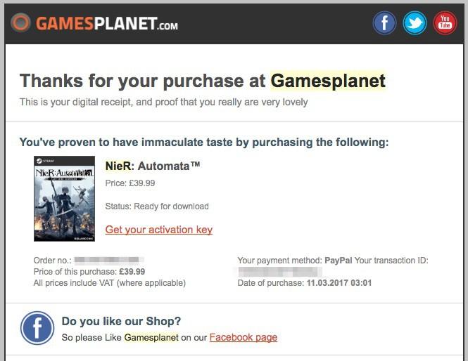 Gamesplanetで注文が完了するとこんな感じのメールが届く