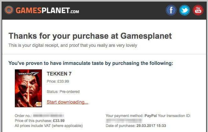購入が完了するとGamesplanetからこんなメールが届く。