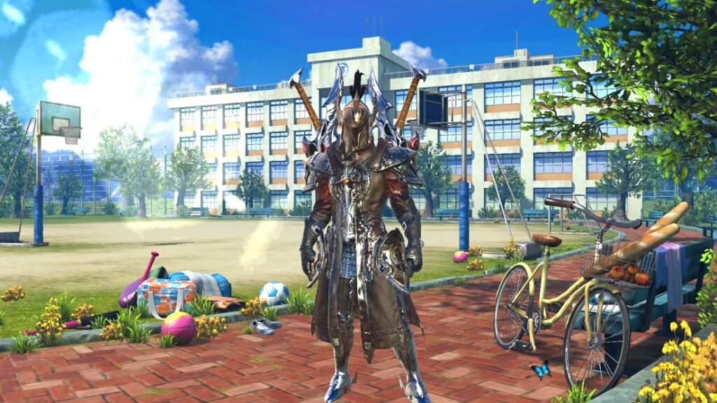 鎧と剣を装備したキャラクターの後ろに学校がある。期間限定とはいえ、世界観がめちゃくちゃ。
