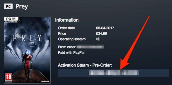 Gamesplanetにおけるゲームキーを取得できるページはこんな感じ。赤い矢印が指している部分にゲームキーが表示される。