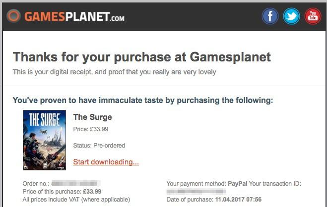 Gamesplanetで購入が完了するとこんなメールが届く。