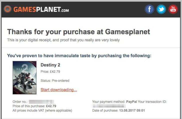 Gamesplanetでゲームキーを購入するとこんなメールが届きます