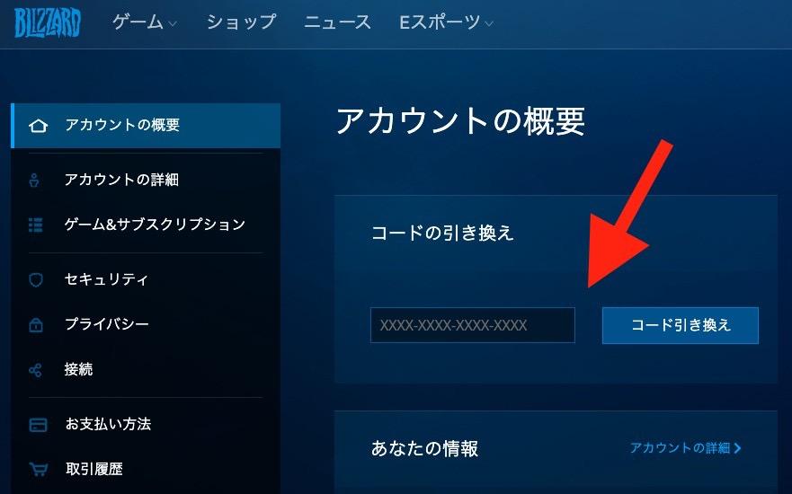 Blizzard Battle.netにログインし、コードを引き換えます
