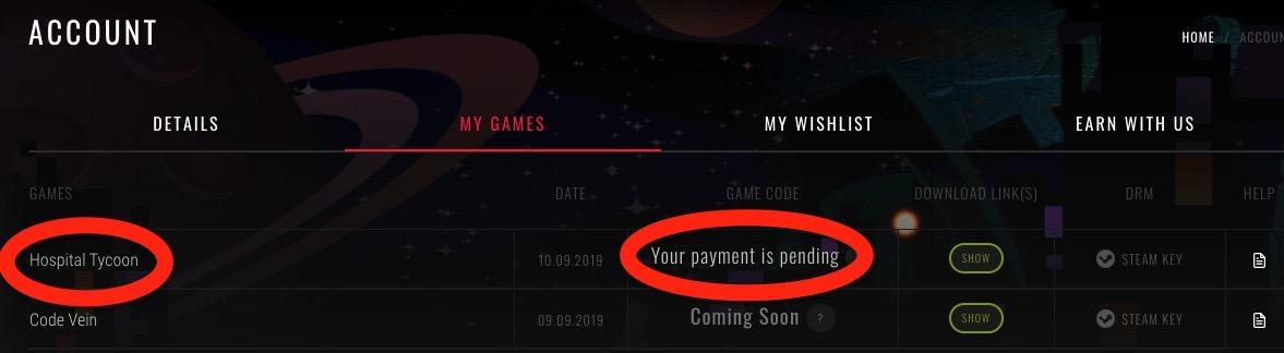 GameBilletが支払いを確認するまで待機状態に。予約の場合はComing Soonの状態に