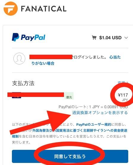 ドルで払う前の画面。このまま支払っても問題はありません