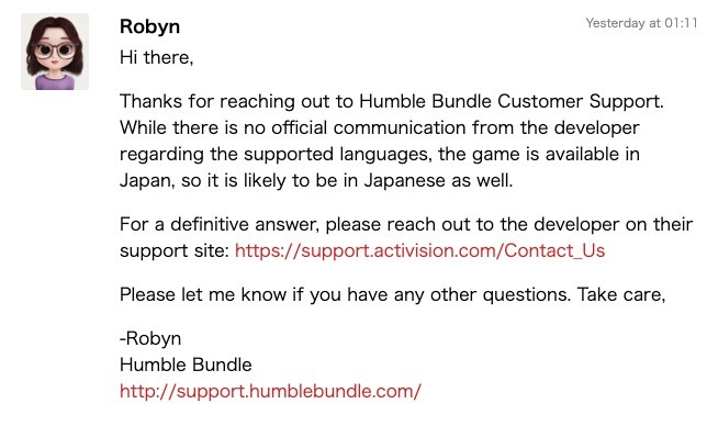 Humble Bundleからの回答。詳しくは発売元に聞いてくださいとのこと