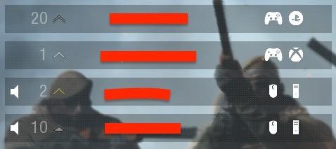 名前の横にどのプラットフォームでプレイしていて、どんなデバイスを使用しているかが表示されます