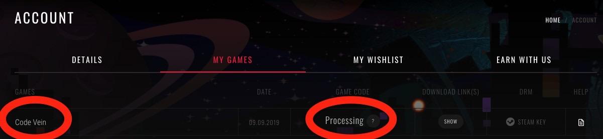 支払ったばかりだと「Your  payment is pending」になりますが、支払いが完了するとProcessingに変わります。まだ予約の段階なのでProcessingで止まっています。発売直前になればゲームキーが表示されます