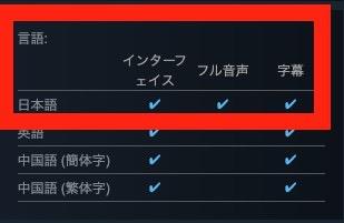 Steamにおける商品ページの対応言語欄