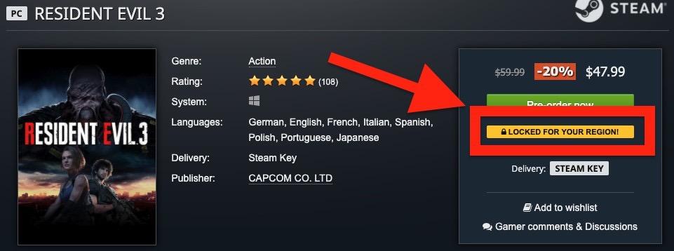 GamesplanetのバイオハザードRE:3の商品ページ。日本からのアクセスでリージョンロックが掛かっている表記に。商品ページの真ん中あたりでは「This product is region locked and can NOT be activated from: Japan(日本からでは有効化できない)という記載も」