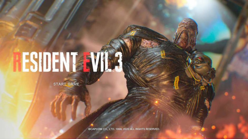 海外版のスタート画面(表記がRESIDENT EVIL 3)。Z版だとBIOHAZARD RE:3と表示されます