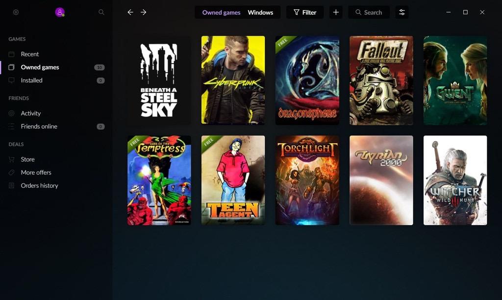 GOG Galaxyのゲームライブラリ。Humble Storeで購入し、有効化が完了したサイバーパンク2077が並んでいます
