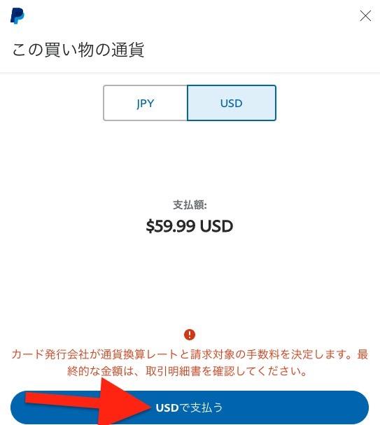 USDで支払うをクリックして、ドルで払うことを確定させます