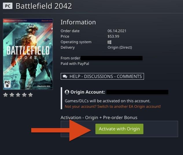 GamesplanetとOriginアカウントの紐付けが完了した状態。「Activate with Origin」をクリックすると、紐付けしたOriginアカウントの方へゲームが追加されます