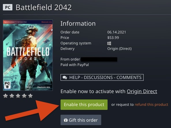 GamesplanetでBF2042を購入。「Enable this product」をクリックして有効化