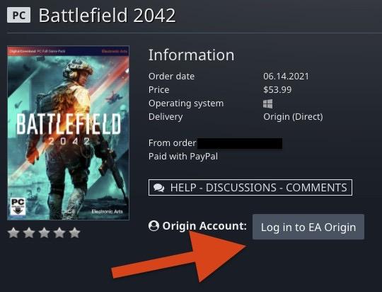 OriginアカウントとGamesplanetアカウントを紐付けするため、「Log in to EA Origin」をクリック