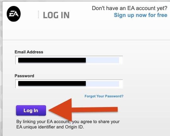 ポップアップ画面が表示されます。EAアカウントの情報を入力し、ログイン。(EAアカウントを持っていない場合は事前に作成しておきましょう)