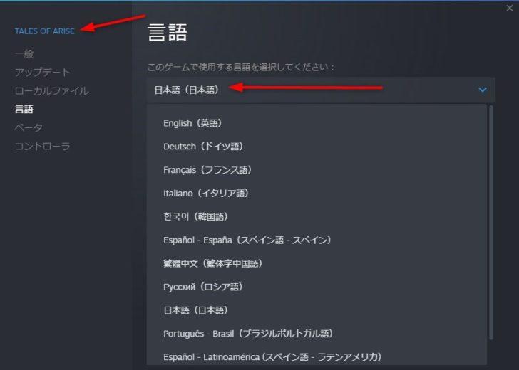 Steamのプロパティにて日本語の存在を確認。ただし、実際に日本語で遊べるかどうかはまだ不明