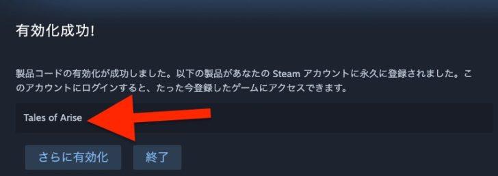 VPN等は使用せずに、日本からSteamキーを有効化しようとしたところ、問題なく有効化されました
