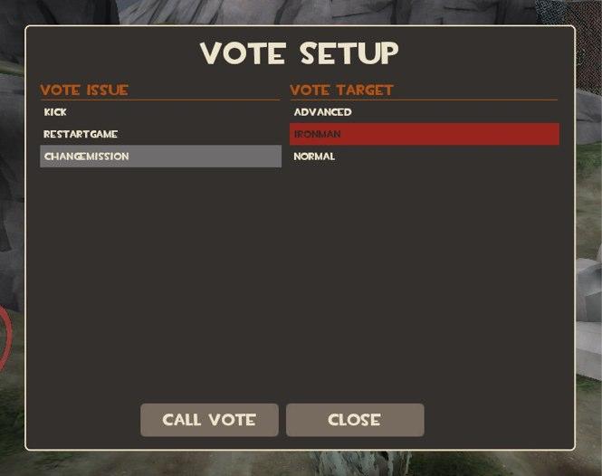 VOTEのCHANGEMISSIONで難易度を変更できる。Normal以外が難しい